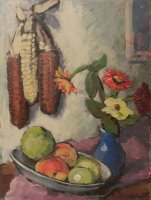 Obst mit Zinnien
